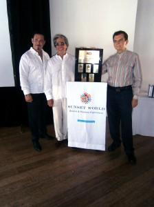 Arturo Marcelín, Orlando Arroyo y Jorge Pallas del Grupo Sunset World