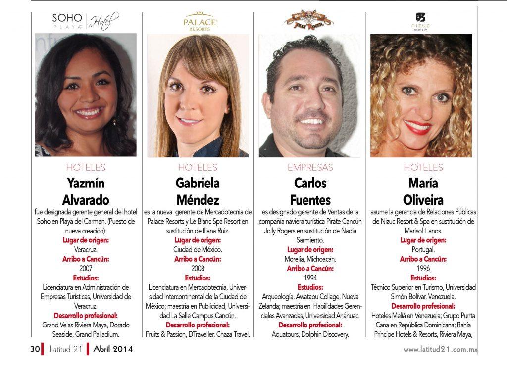 Yazmín Alvarado, Gabriela Méndez, Carlos Fuentes, María Oliveira